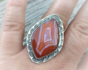 Sumatra Agate Statement Ring size 8.25, sterling silver, orange banded agate, made in NH, handemade, signed ring