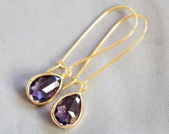 Tanzanite Purple Gold Earrings,Jewelry Gift, Diamond,Diamond Earrings,Gold Earrings, Gold Faceted Earring,Wedding,Bridal, Bridesmaid Gift
