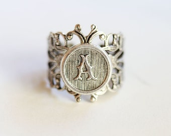 Initial Letter A Ring,Flower Silver Ring,Jewelry Gift, Ring,Silver,Flower,Antique Ring,Silver Ring,Blossom,Wedding,Bridesmaid.
