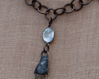 Artisan Soldered Crystal Drop on Bronze Chain
