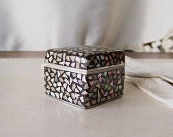 Vintage Porcelain Trinket Box Mother of Pearl Keepsake Treasures Jewelry Storage Vintage 1990s