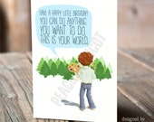 Bob Ross Happy Little Birthday Card - You Can Do Anything