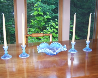 Duncan & Miller Opalescent Blue Hobnail Glass Bowl with Four Matching Candlestick Holders in Excellent Condition