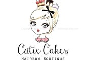 Cutie Cakes Hairbow Boutique - Character Illustrated OOAK Logo design