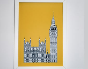 Big Ben Drawing, London Illustration, London Print, art print, artwork, Picture of Big Ben, England, Illustration of London