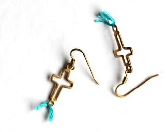blue gold cross earrings