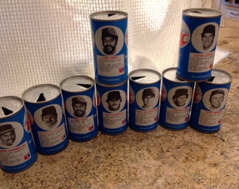 Vintage RC Cola Cans, Baseball Cans, sport cans, collectible cans