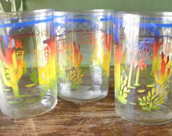 Three Vintage Southwest Theme Juice Glasses