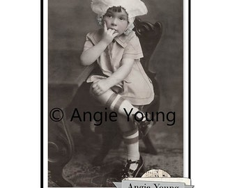 digital collage sheet vintage photo girl child old picture antique photograph commercial cards children printable download supplies vp006