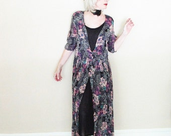 Vintage Boho Chic Broomstick Dress - 90s With Black Tank Underdress
