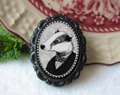 badger pin - victorian style portrait - black and white - honey badger