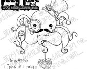 INSTANT DOWNLOAD Digi Stamp Kawaii Steampunk Octopus ~ Freddie 'Legs' Wise-Key Image No.250 by Lizzy Love
