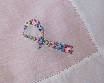 Large Solid White Cotton Hankie Monogrammed P