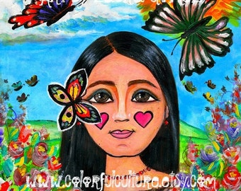 "La Nina de las Mariposas / The Girl of the Butterflies""  Art Print by Laura Gomez - Mexican Art- Mexican Girl"