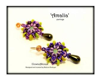 Bead pattern tutorial DIY Amalia earrings with Piggy beads, Superduo and Swarovski Xilion