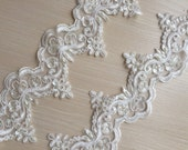 Ivory Alencon Lace Trim Pearl Beaded Sequined Lace Wedding Lace Trim Aulic Retro Lace 3.54 Inches Wide 1 Yard Bridal Veil Dress Supply