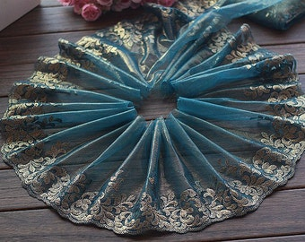 2.12 Yards Lace Trim Floral Embroidered Tulle Lace Trim 7.48 Inches Wide High Quality