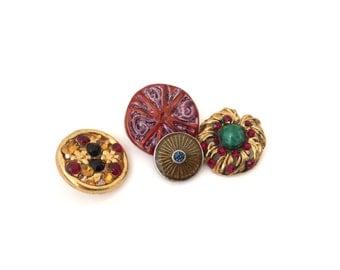 4 Antique Gold Metal Buttons, Colorful, Rhinestone, Ceramic