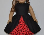 Handmade Black and Red Paw Print Dress Fits American Girl Doll