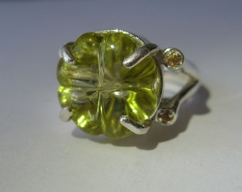 Stunning Carved Flower Lemon Quartz, Yellow Sapphires Ring In Sterling Silver, 11.08ct. Size 7