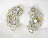 Vintage Earrings Bead Aurora Borealis Glass Curved Crescent Cluster Clip On