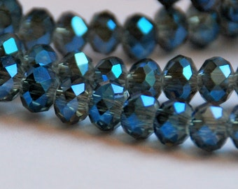 Half or Full Strand 6x4mm Transparent Grey with Cobalt Blue Highlights Rondelle Glass Beads