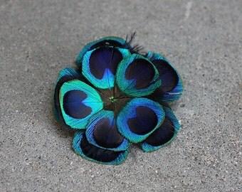 Brilliant Blue Peacock Boutonniere