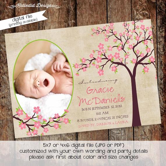 girl birth announcement cherry tree blossoms baby girl shower birthday graduation sprinkle ultrasound diaper item 404 shabby chic invitation