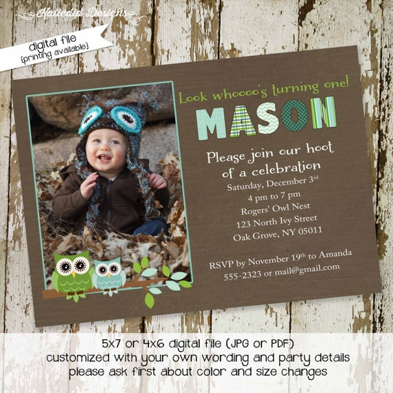 owl baby shower invitation owl first birthday birth announcement photo sip and see sprinkle ultrasound (item 241) shabby chic invitations