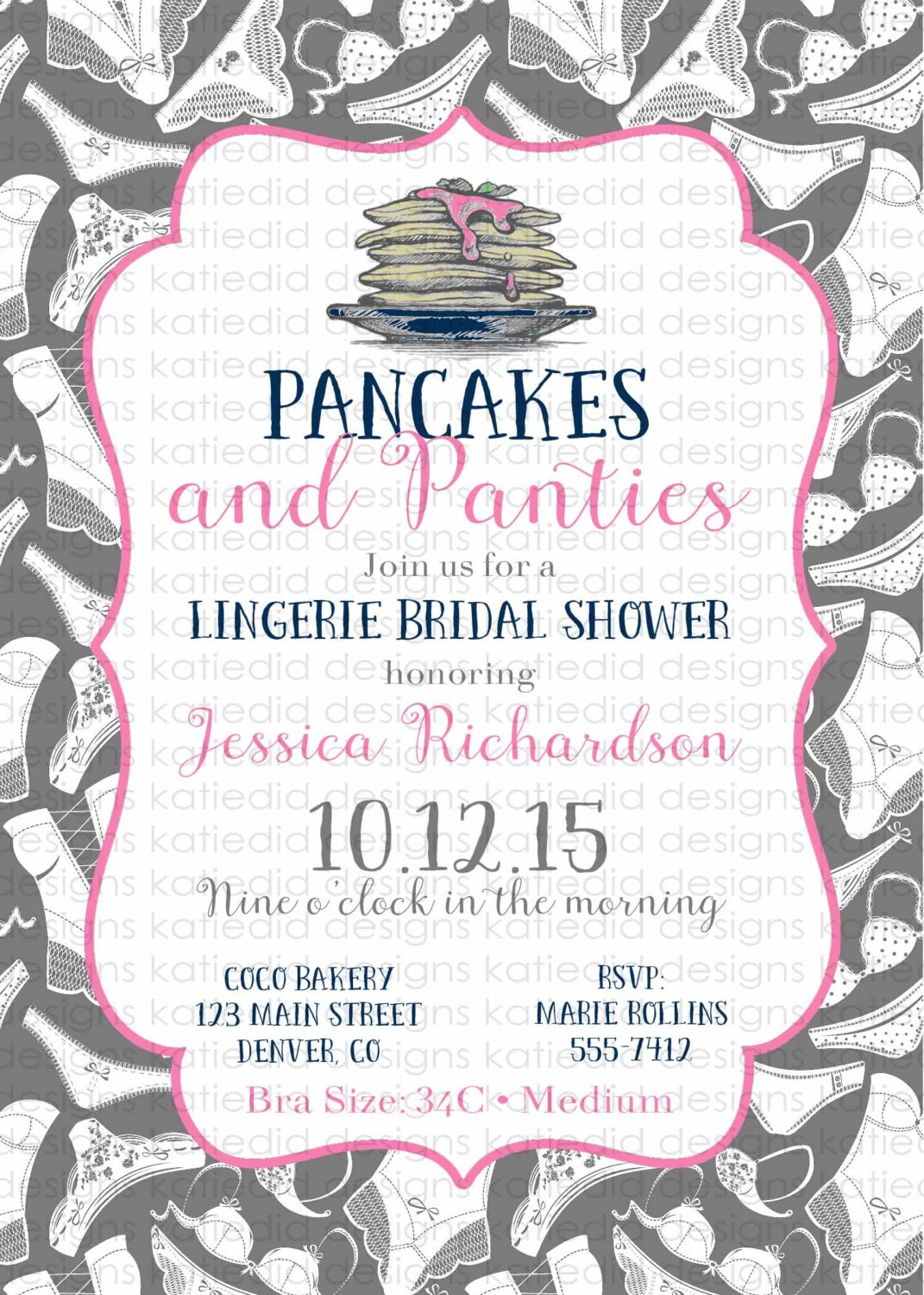 bridal shower invitation pancakes and panties lingerie panty ...