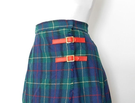 blue and green tartan plaid school skirt pleated