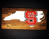 NC State hand painted wood sign, re purposed wood