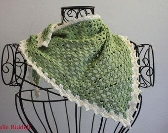 Green & Cream Granny Scarf