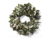 "Preserved Handmade 18"" Wreath-Natural Basil Salal-Organic Wreath-Indoor Wreath-Fall Wreath-Door Wreath-Rustic-Shabby Chic-Winter Wreath"
