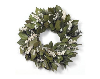 "Preserved Handmade 18"" Wreath-Natural Basil Salal-Organic Wreath-Indoor Wreath-Fall Wreath-Door Wreath-Rustic-Shabby Chic-Winter Wreath"