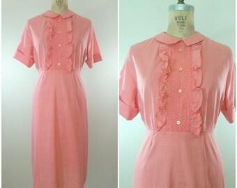 Vintage 1960s Dress / Pink Cotton Day Dress / Corner Candy Store Dress / 60s Dress / Medium Large