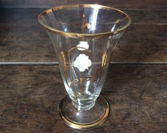 Vintage French Versailles Fleur de Lis Boheme hand painted drinking glass with gold detailing circa 1950-60's / English Shop