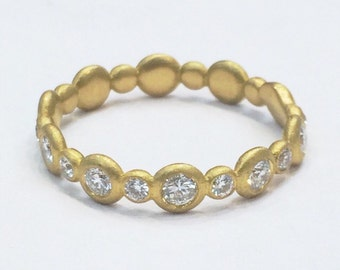 Diamond Bubble Eternity Band - 22k gold or 18k gold - Diamond Stacking Ring