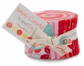 Simply Colorful Junior Jelly Roll in Reds designed by Vanessa Christensen of V and Co.