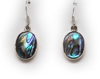 Sterling Silver Irridescent Abalone Shell Dangle Earrings