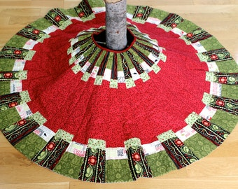 Quilted Christmas Tree Skirt Traditional Patchwork Quilted  Modern Holiday Decor  Traditional Country Christmas Quilts Decoration Handmade