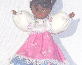 Renae, OOAK cute African American breast cancer awareness Pink Ribbon doll