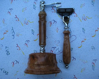 Razor Set  Mach 3 or Venus Razor with stand, Made In USA Big Leaf Maple  wood razor, woodturning, shaver,