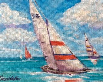 "Sailboats Painting Sailing Regatta Art seascape original painting 5 x7"""