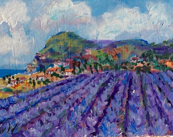 "Provence Landscape Lavender Field Original painting 5 x 7"""