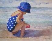 Nursery Wall Art, Beach Girl Art Print, Beach Painting, Seashore Ocean Painting, Polka Dot Beach Decor, Home Decor Gift, Barbara Rosenzweig