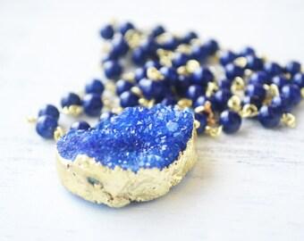 Blue Rosary Necklace // Blue Druzy Pendant // Y Necklace // Long Gemstone Rosary // Blue Stone Rosary // Druzy Crystal Necklace