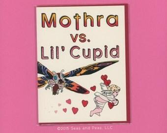MOTHRA VS CUPID - Funny Valentine Card - Funny Valentine - Mothra - Love Card For Him - Card for Friend - Valentine - Love Card - Item# V035