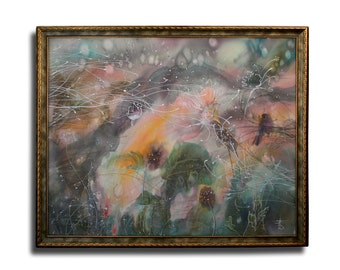 Country landscape, batik, spring storm, windy vague sunset, vivid painting, psychology, secret garden, framed silk, Bistra Sirin's Art