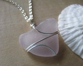 Purple Heart Sea Glass Pendant Beach Glass Necklace Beach Jewelry Lavender Wire Wrapped